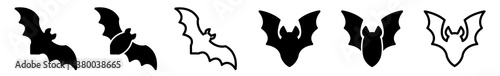 Bat Icon Black | Flying Bats Illustration | Halloween Symbol | Vampire Logo | Sc Fotobehang