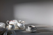 White Ceramic Tea Set On The T...