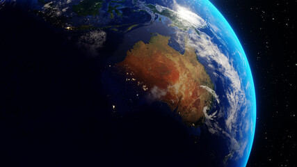 Continent of Australia seen from space. Transition from night to day