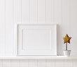 canvas print picture - Mockup poster frame close up on shelf with toy, 3d render