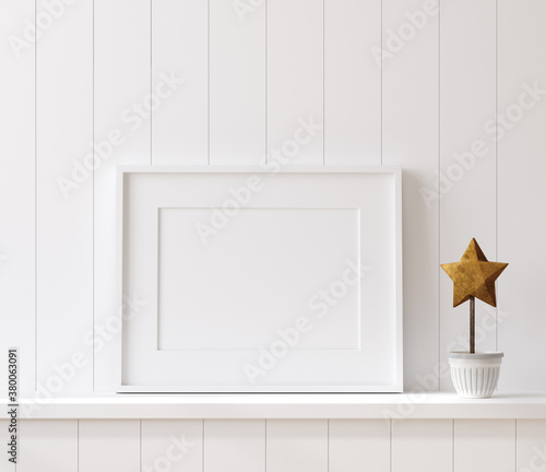 Mockup poster frame close up on shelf with toy, 3d render - 380063091