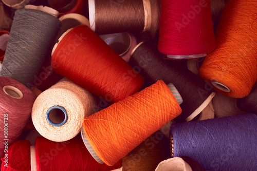 Fototapeta Composition of colorful vibrant wool threads from above