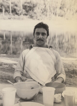 Man Sitting Ready For Lunch - Vintage Film Photo