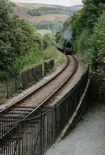 Steam Locomotive On A Heritage Line, Pulling Passenger Coaches I