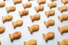 Delicious Goldfish Crackers On White Table, Closeup