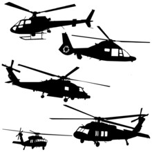 Helicopter Silhouette Vector Set In Black On White Background