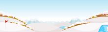パノラマのゴルフコース。雪で真っ白な風景になった冬のゴルフ場。