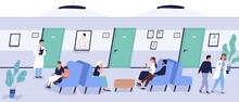 Patients Sit On Couch At Waiti...