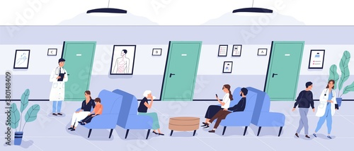 Leinwand Poster Patients sit on couch at waiting area of medical center vector flat illustration