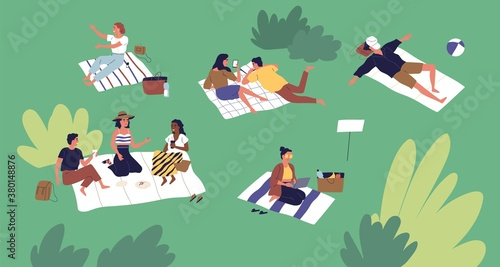 Diverse people spending time at summer park vector flat illustration. Man and woman talking, lying and sitting on plaid, sleeping, eating and working on laptop. Leisure activity at relaxed place