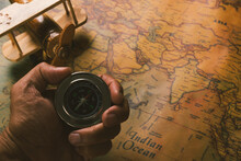 Hand Hold Old Compass Discover...