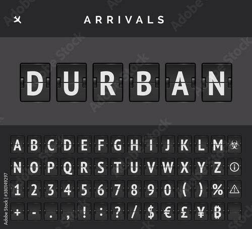 Mechanical airport flip board font and airplane arrivals sign Canvas Print