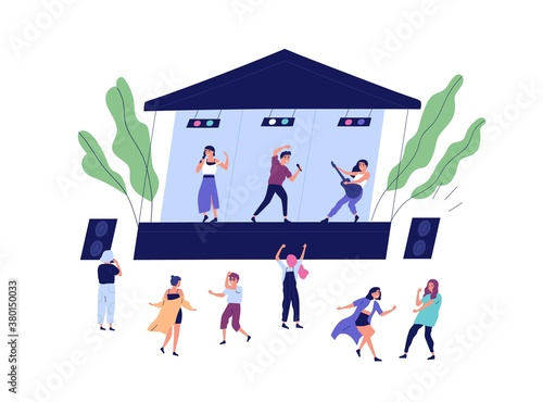 Fototapeta Musical band performing on stage during open air concert vector flat illustration. Happy audience dancing, shooting video and enjoying sound isolated. Musicians and singers at summer indie festival obraz