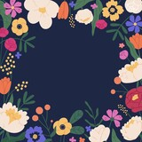 Elegant square background with colorful bloom flower vector flat illustration. Decorative template with beautiful flowering plants. Romantic border with garden flowers. Natural blossom backdrop