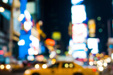 Cabs In Times Square Defocused
