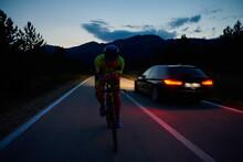 Triathlon Athlete Riding Bike ...