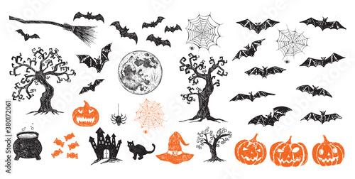 Halloween symbols hand drawn illustrations Canvas Print