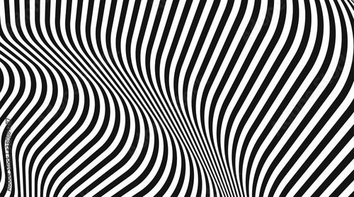 Fototapeta Abstract vector striped black and white background obraz