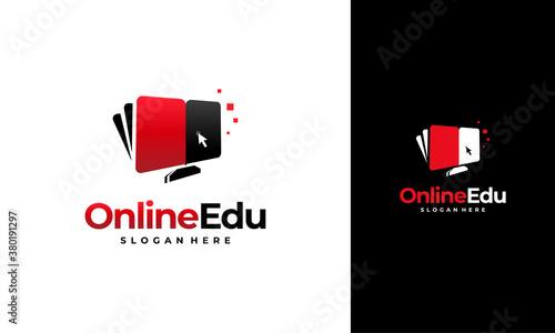 Online Education logo designs concept, Computer Book logo designs template Canvas Print