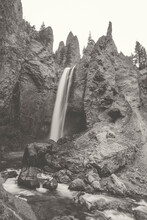 Towering Waterfall, Faded Black And White