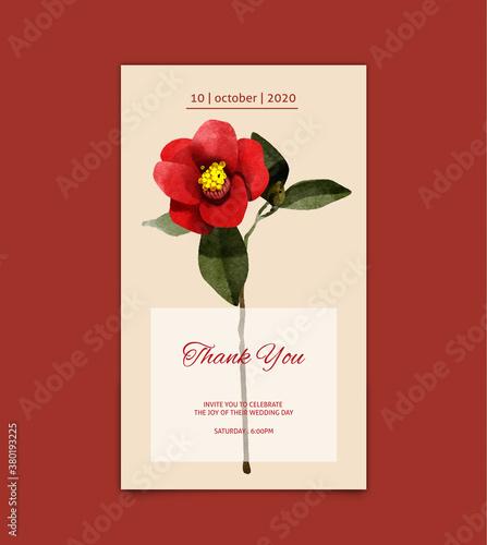 Obraz na plátně card with camellia flower