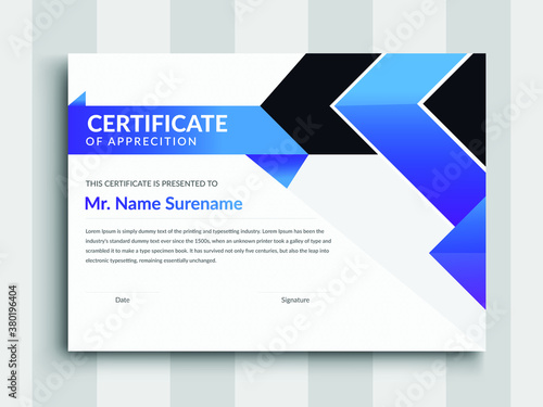 Fototapeta modern certificate template with blue certificate design, certificate template awards diploma background vector, creative Professional Certificate Template obraz