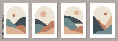 Obraz Set of trendy minimalist landscape abstract contemporary collage design - fototapety do salonu