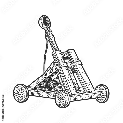 Принти на полотні Catapult antique medieval ballistic device sketch engraving vector illustration