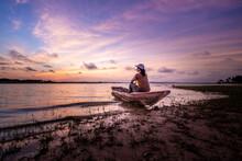 Woman Tourist Sitting On Boat ...