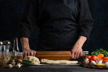 The Chef In Black With Wooden ...