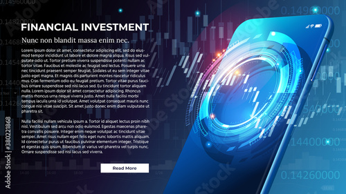 Vector Banner for Financial Investment or Forex Trading Concept. Futuristic Smart investment Technology controlling protection system global Network financial Investment economic Trends #380221868