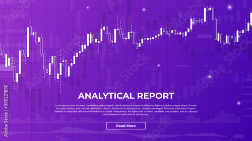 Analytical Report or Forex Trading Graph with Candlestick Charts. Suitable for Financial Investment or Economic Trends, Business ideas or all Art Work Design. Vector Abstract Finance Background. #380221880