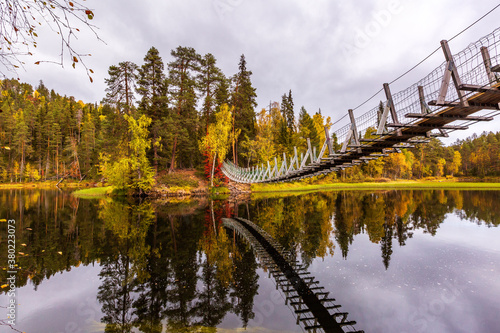 Fotografía The suspension bridge in the beautiful autumn forest, Oulanka national park, Fin