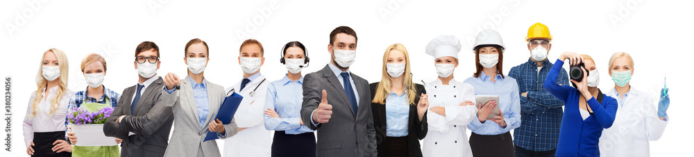 Fototapeta job, occupation and pandemic concept - people of different professions wearing face protective medical masks for protection from virus disease over white background