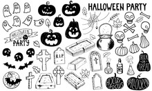 Halloween Party Set. Doodle Pumpkin Gravestone Headstone Celtic Cross Bat Skull Spider Web Cauldron Of Potion Ghost. Hand Drawn Lettering With Blood Drops. Stock Vector Illustration Isolated On White.
