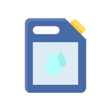 Plumber Icons Related Cleaner Liquid Can Or Tank With Water Droops Vector In Flat Style,