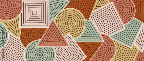 Trendy line art wallpaper. Wall art background design for home decor, wallpaper, print, cover, website, packaging design. vector illustration.