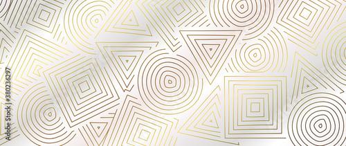 Fototapeta Luxury Gold line art wallpaper. Wall art background design for home decor, wallpaper, print, cover, website, packaging design. vector illustration. obraz