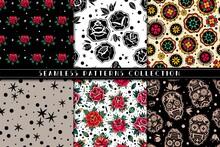 Old School Tattoo Roses Seamless Patterns Set