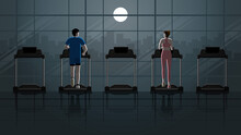 Back View Of City Lifestyle. Love At First Sight Between Man And Woman Running On Treadmill In Empty Fitness Center At Night In The Dark And Full Moon Light. Idea Illustration Romantic Scene Concept.