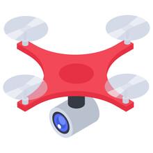 Drone Camera Icon Design, Isometric Vector
