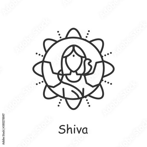 Carta da parati Lord Shiva line icon