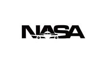Typography NASA With Plane Vector Logo Design Inspirations