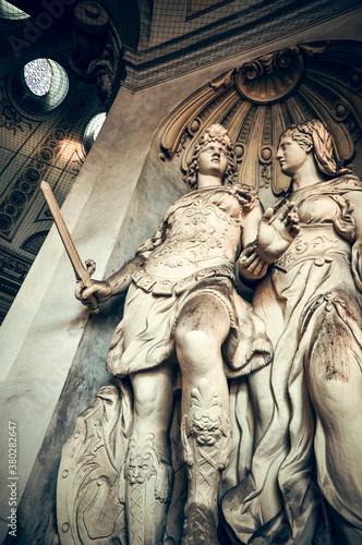 Wien, Austria - The allegoric statue symbolizes the Maria Theresa's motto 'Virtu Wallpaper Mural