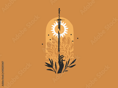 Fototapeta Hand drawn vector abstract stock flat graphic illustration with logo elements ,s