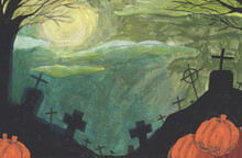 Halloween Background Watercolo...