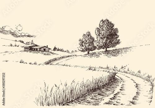 A path to a farm landscape hand drawing Fototapeta