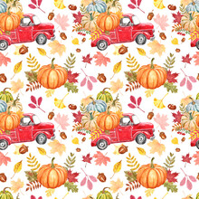 Red Pumpkin Truck Seamless Pattern. Watercolor Fall Repeat Print. Hand Painted Vintage Red Pickup Car With Pumpkins, Colorful Leaves On White Background. Thanksgiving Themed Design.