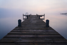 Jetty During A Foggy And Tranq...