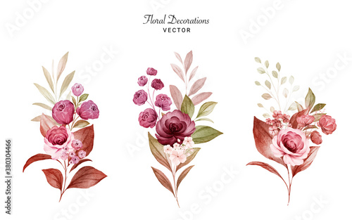 Slika na platnu Set of watercolor floral arrangements of burgundy and peach roses and leaves
